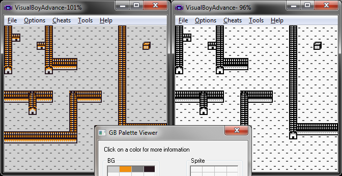 The output of my program running on an emulator, showing a properly sorted palette, with a decently optimized tileset.