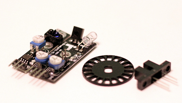 Encoder wheel, opto switch and a couple of sensors that can actually be mounted on the board as it is.