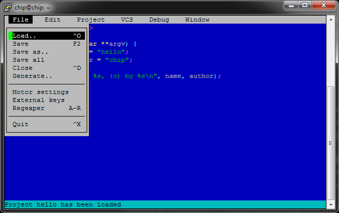 """Developing on a Pocket CHIP with """"Motor"""", a Text-based IDE"""