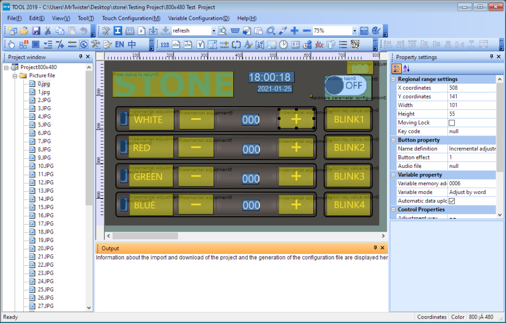 PC Software showing a panel with buttons and labels that control R, G, and V values.
