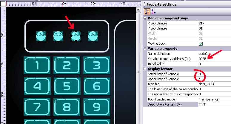 Screenshot of the design software, showing one of the UI elements and the way it's mapped to a variable through the following parameters: Variable memory address, lower limit of variable, and upper limit of variable