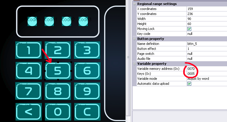 "A screenshot of the UI showing a button with the label ""5"" selected and configured to set to 5 the value of a variable when it's pressed."