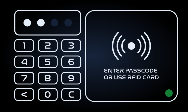 "A screen displaying a virtual numeric keypad and a label saying ""enter passcode or use rfid card"". There's also a green light in the corner."
